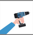 hand holds electric screwdriver tool vector image vector image
