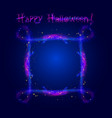 happy halloween neon glowing ornate border frame vector image