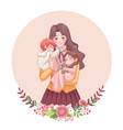 happy mothers day greeting card young mother vector image