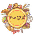 healthy breakfast hand drawn design with eggs vector image vector image