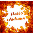 hello autumn card with orange leaves vector image vector image