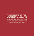 hollow sans serif font in racing style vector image