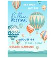 hot air balloon festival poster template vector image vector image