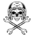 human skull with helmet and crossing wrenches vector image vector image