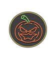 jack-o-lantern neon sign circle vector image