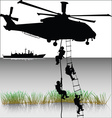 landing of helicopters vector image