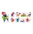 magical dwarf fairytale garden gnomes game vector image