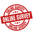 online survey round red grunge stamp vector image vector image