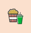 pop corn box and soft drink icon vector image vector image
