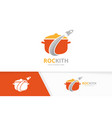 pot and rocket logo combination kitchen vector image vector image