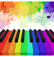 rainbow colored piano keys musical notes and w vector image vector image