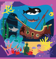 sea story ship ghost and underwater inhabitants vector image vector image