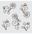 set flower elements vector image