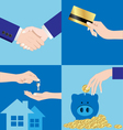 Set of Business Hands and finance vector image vector image