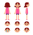 set of little girl vector image