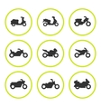 set round icons motorcycles vector image vector image