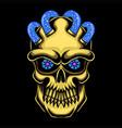 skull head gold vector image