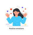 smiling female character in love is waving vector image vector image