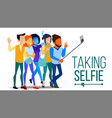 taking selfie men women laughing photo vector image