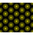 Yellow Flower on Black Background Seamless Pattern vector image vector image