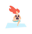 young woman practicing yoga asana physical vector image