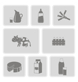 monochrome set with with milk icons vector image