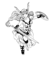 black and white sketch cartoon Valkyrie vector image