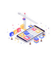 3d isometric build mobile application with search vector image vector image