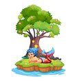 A mermaid near the treehouse vector image vector image