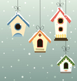 Abstract hanged bird house set in snowfall vector | Price: 1 Credit (USD $1)