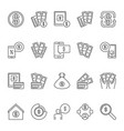 american dollar and money outline icons or vector image vector image