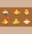 animated bachickens in different poses vector image