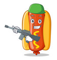 army hot dog cartoon character