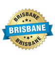 brisbane round golden badge with blue ribbon vector image vector image
