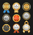 business labels and premium quality golden badges vector image