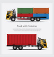 cargo trucks transportation with container vector image