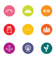childlike town icons set flat style vector image