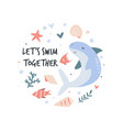 circle abstract design with cute shark and fishes vector image