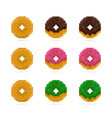 colored donuts set in pixel art style pink vector image