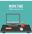 computer monitor and office related items icon vector image vector image