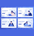 customer support landing page cartoon call center vector image