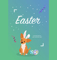 dog as easter hare with easter eggs vector image vector image