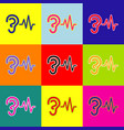 Ear hearing sound sign pop-art style