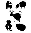 farm animal silhouettes collection for design vector image