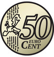 fifty euro cent coin vector image vector image
