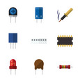 flat icon appliance set of triode microprocessor vector image vector image