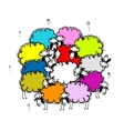 Flock of colored sheeps sketch for your design vector image