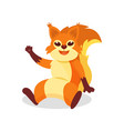 friendly red squirrel sitting on the ground and vector image vector image