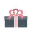 gift box with pink ribbon icon flat style vector image