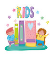 girl and boy enjoying with books education vector image